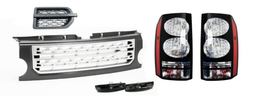 LR DISCOVERY 3 BLACK LED TAIL LIGHTS FRONT GREY & SILVER